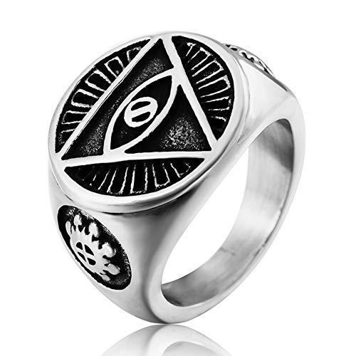 DFWY Anillo de Sello Masónico Illuminati Eye of Providence para Hombre, Anillo...