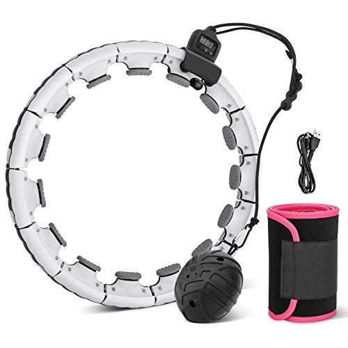 Komake Hola Hup Reifen, Upgraded Hola Hup Reifen Ring, Abnehmbare Auto-Spinning 16 Abschnitte, Intelligente Berechnungszeit, Hola Hup Reifen für Weight Loss Fitness und Massage