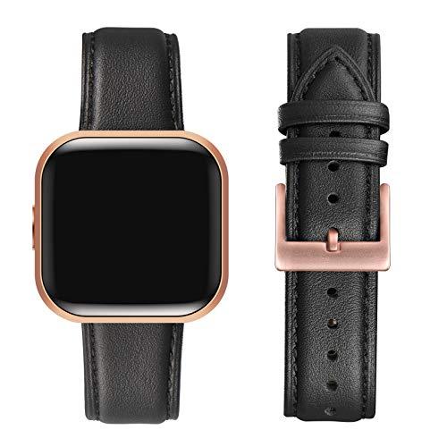 FENGLIN Compatible con correa Fitbit Versa 2/correa Fitbit Versa, correa de piel suave ajustable de repuesto para Fitbit Versa 2/Fitbit Versa/Versa SE/Versa Lite (negro/rosa).