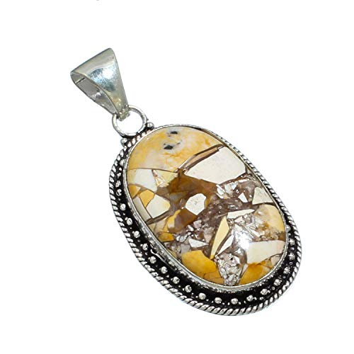 Jewelry Plaza 925 Silver Plated Brown Brecciated Mokaite Gemstone Pendant Handmade Jewelry-Single Bail Cabochon Pendant ! (SF-50)…