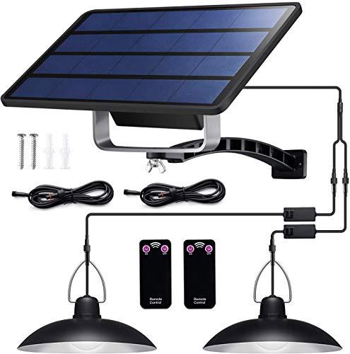 Solarleuchten für Außen Innen - Solar Hängeleuchte Retro Solarlampe mit Fernbedienung & 3M Kabel Solar Pendelleuchte für Garten Balkon Garage, IP65 Wasserdichte (32LED - Weißes Licht)