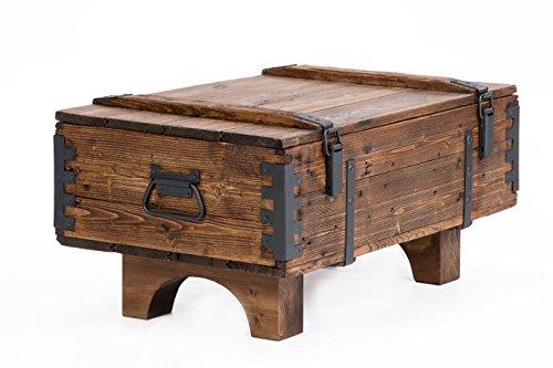 Own Design - Baúl de viaje antiguo como mesa auxiliar de diseño rústico, cofre de madera de pino estilo vintage para guardar las mantas
