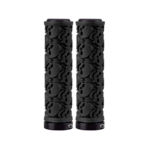 BESPORTBLE 1 Pair Bicycle Handlebar Grips,Cycling Rubber Anti-Slip Handle Bar Grips,Ergonomic Skull Pattern Bike Handlebar Sleeve-Black