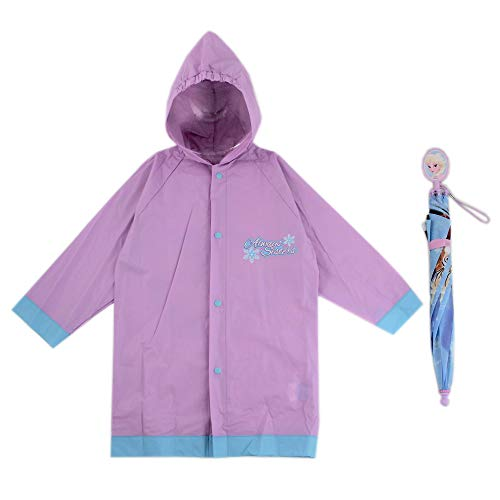 Disney Girls' Little Assorted Characters Slicker and Umbrella Rainwear Set, Frozen Light Purple, Age 4-5