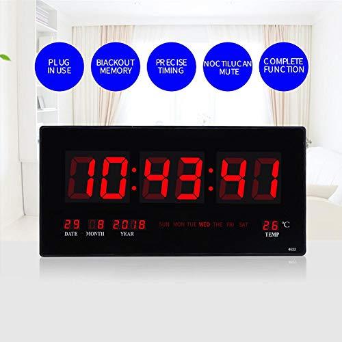 Digitale wandklok, LED Elektrische kalender Wandklok met nachtlicht Thuis Slaapkamer Kantoor EU-stekker 110-220V - Kwaliteit is onze cultuur