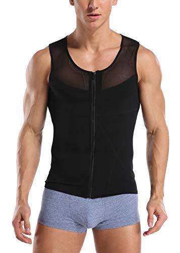 Unterhemd Herren Shapewear Gynäkomastie Kompression T-Shirt Sport Kurzarm Oberteil mit Enger Passform Sportunterhemden Funktionsunterwäsche Business Unterhemd-B2
