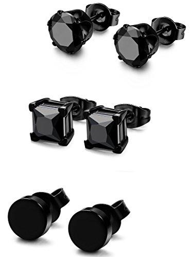 FIBO STEEL 3 Pairs Stainless Steel Black Stud Earrings for Men Women CZ Earrings, 7mm