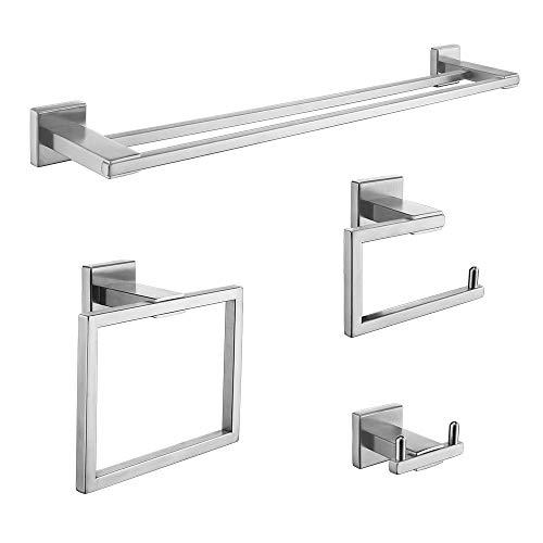 KOJOX Set di accessori da bagno per portasciugamani Set di accessori da bagno in acciaio inossidabile 4 pezzi, portasalviette da bagno porta carta igienica,gancio per accappatoio