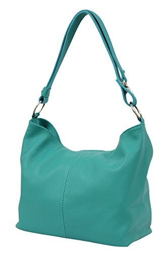 AMBRA Moda Damen Leder Handtasche Schultertasche Umhängetasche Hobo bag GL005 (Türkis)
