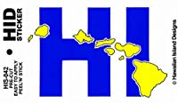 HID ハワイアン ステッカー デカール(HI-ハワイ州) ハワイアン雑貨 ハワイ 雑貨 お土産 (ブルー)