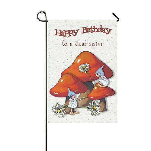 Interestprint Joyeux anniversaire Polyester Drapeau Garden House Banner 30,5 x 45,7 cm, Nain de filles avec champignons et marguerites décoratifs Drapeau pour fête Yard Home Décor extérieur, Polyester, multicolore, 12x18