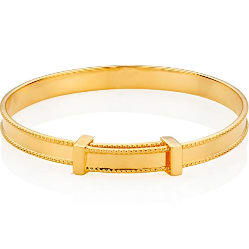 Molly Brown London 18ct Gold Vermeil Heritage Christening Bangle - New Baby Gift or Toddler Present for Naming Ceremony