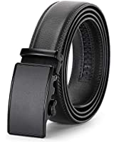 Stylish Leather Gift Belts, Men Auto Ratchet Belt for Jean No Holes Strap Adjustable Black