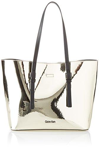 Calvin Klein Ck Zone Medium Shopper Metalic - Borse Tote Donna, Oro (Light Gold), 14x25x41 cm (B x H T)