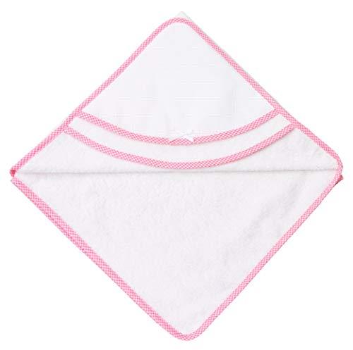 Filet - Accappatoio Triangolo | Per Neonati e Prima Infanzia | Con Taschina a Forma di Cuore in Tela Aida da Ricamare - Bianco, Rosa