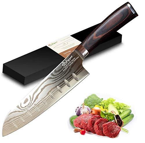 Santoku - Cuchillo de cocina japonés de 7 pulgadas, acero inoxidable alemán de alto carbono - Razor Sharp - Resistente a manchas y corrosión - Impresionante retención de bordes con mango ergonómico