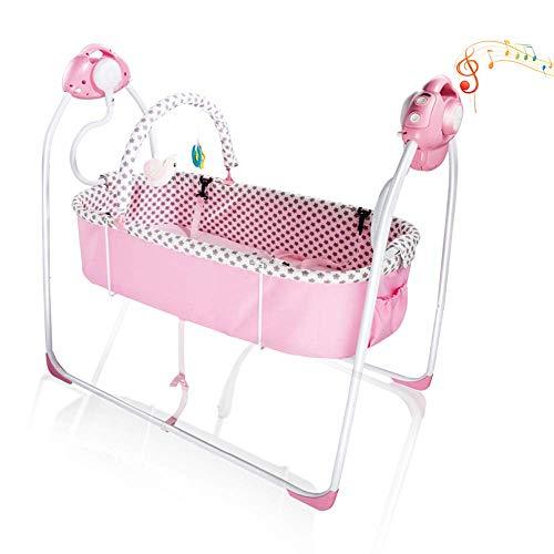 VASTFAFA Hamaca para Bebes, Eléctrica Mecedora para Bebés,Balancín Columpio Hamaca Plegado Con mosquitera,16 melodías,6 velocidades de oscilación medias (99881 rosa)