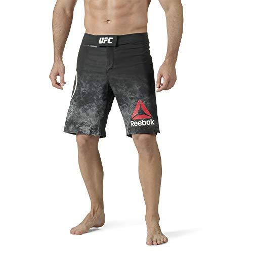 Reebok UFC Fight Night Octagon - Pantalón Corto para Hombre (Cintura 37'), Color Negro