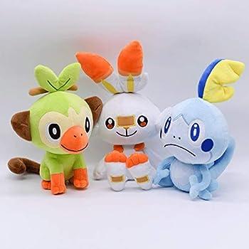 Enjoyyouselves Plush Toy Plush Doll Pokemon 3pcs/Set Stuffed Shield Sword Grookey Sobble Scorbunny Figure Toy 18cm