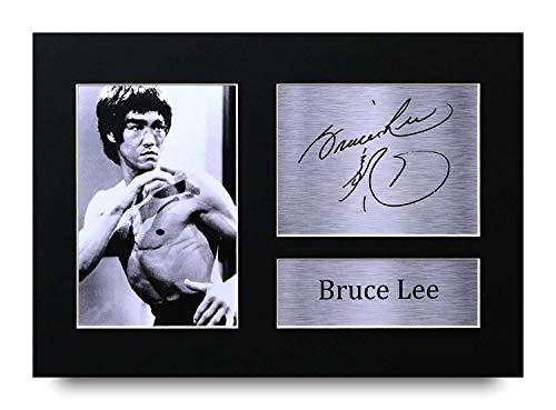 HWC Trading Bruce Lee A4 Sin Marco Regalo De Visualización De Fotos De Impresión De Imagen Impresa Autógrafo Firmado por Martial Arts Enter The Dragon Los Aficionados Al Cine