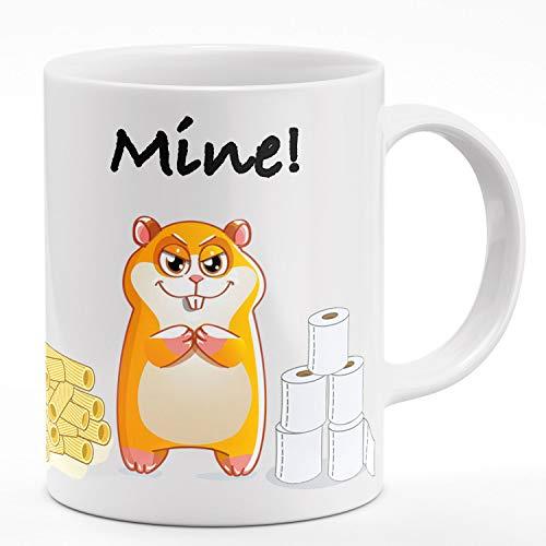 Ferocity Hamster Tasse mit Spruch Meine Hamsterkäufe Klopapier Nudeln Virus 2020 Geschenk Werbetasse Weiß, Mine [117]