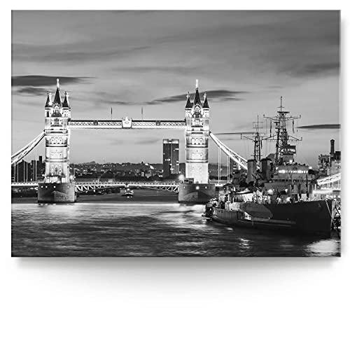 BilderKing Intensiv & Impostant 200x150cm großes Leinwand-Bild. London, schwarz weiß als Wandbild auf 4cm tiefen Keilrahmen. Eindrucksvoller können Sie Ihren Raum Nicht in Szene setzen