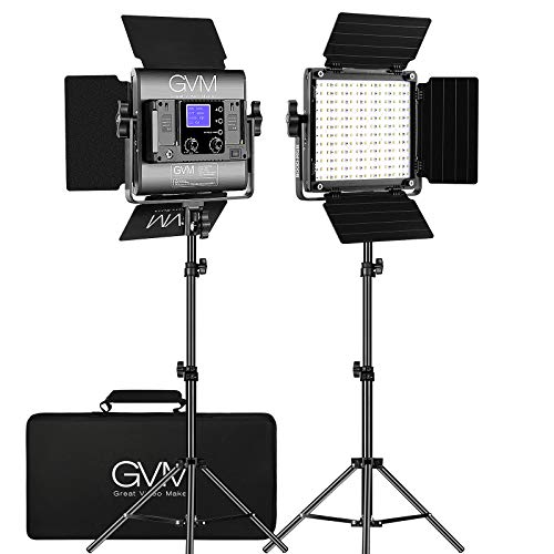GVM RGB LED Video Light, Photography Lighting with APP Control, 800D Video Lighting Kit for YouTube Studio, 2 Packs Led Panel Light, 3200K-5600K, 8 Kinds of The Scene Lights, CRI 97