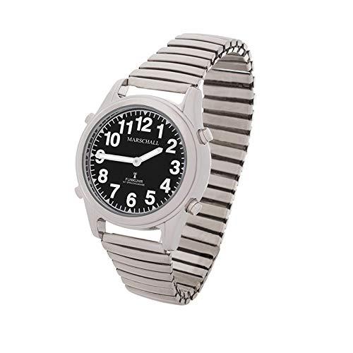 Sprechende Funk-Armbanduhr Damen & Herren Metall-Zugarmband Black Stile Damenuhr
