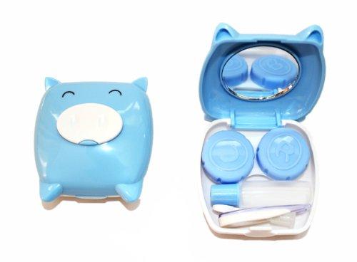 Kontaktlinsenbehälter Aufbewahrungsbehälter Etui Set Spiegel Mini Schwein Blau