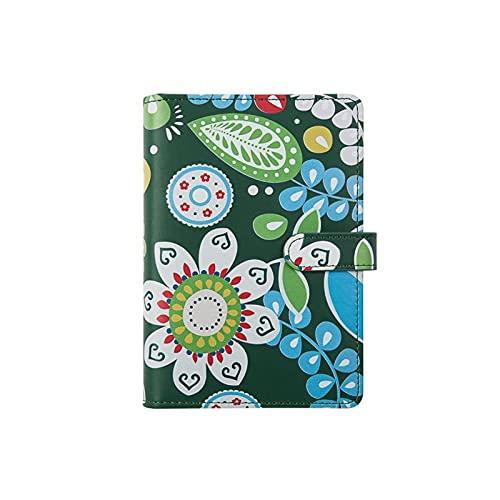 JJH Cuadernos con encuadernación Floral Diario de Cuero Recargable Notebook 6 Llegadores de Carpeta de Anillos Libretas de Escritura para la Escuela de Trabajo de Viaje (Color : B)