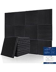 BUBOS 吸音材 消音 騒音 防音 吸音対策 室内装飾 楽器 ウレタンフォーム ウェッジ 吸音材質ポリウレタン, 黒 (12個, 300*300*25mm)
