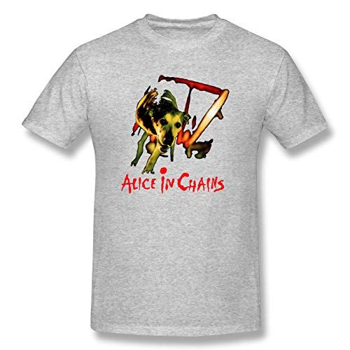 Alice In Chains Dog Men's Short Sleeve T-Shirt Graphic Soft T Shirt Gray 3XL