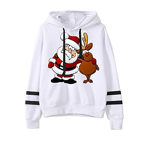 YWLINK Familia Jersey Suéter Navideño Sudadera Navideña Sudaderas Navideñas Familiares Sudadera Navidad Hombre Mujer Jerseys Navideños Parejas Pullover Cuello Redondo Invierno (Blanco-1, XL)