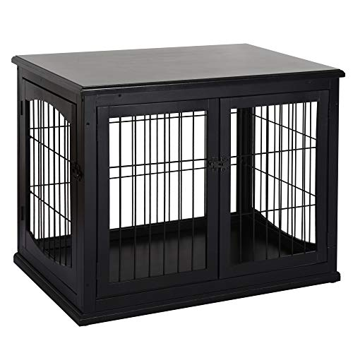 PawHut 26'' Wooden Decorative Dog Cage Pet Crate Kennel with Double Door Entrance & a Simple Modern Design, Black Basic Crates