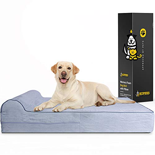 7-inch Thick High Grade Orthopedic Memory Foam Dog Bed With Pillow and...