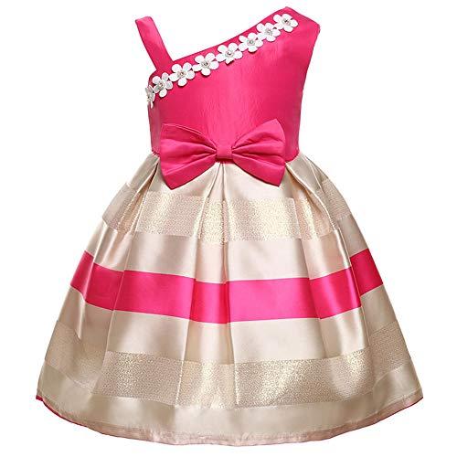 Primavera / Verano Vestido de flores de perlas para nias Vestido con patrn de correa de un hombro Falda Vestido de flores para nios Boda Fiesta de cumpleaos Falda de princesa-Rosa roja_120cm