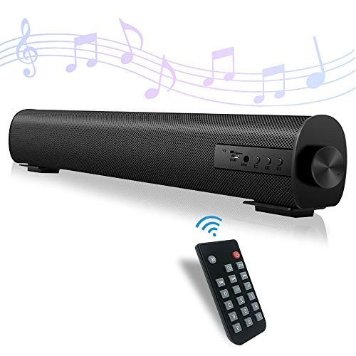 Sound Bar for TV Soundbar with Dual Built-in Subwoofer 15.8 Inch 3D Surround Sound for Home Theater Wired & Wireless Bluetooth 5.0 Audio Speaker for PC/Phone 3 Equalizer Modes (S09-Black)