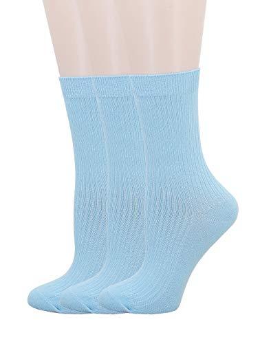 SRYL Womens Cotton Socks High Ankle (3 Pairs-Light blue(Stripes))