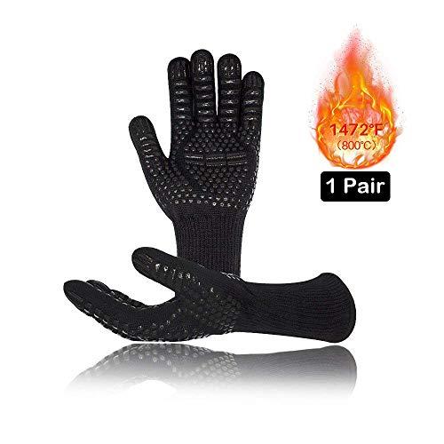 Vegena Grillhandschuhe, BBQ Kochenhandschuhe Hitzebeständig bis 800℃ Universalgröße 33CM Ofenhandschuhe für Grillen Kochen Schweißen Feuerplatzl EN407 Zertifizierte Schwarz 1 Paar