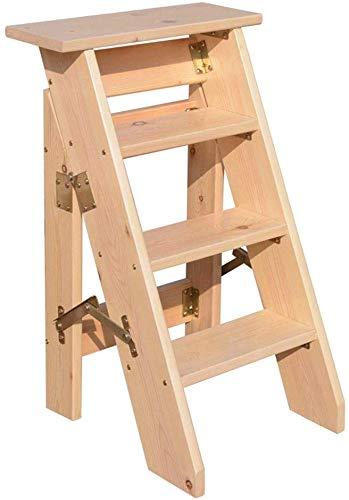 QTQZDD opklapbare 4-traps trapladder, ladder, stoel van hout, bekleed, multifunctionele trapladder, licht tuingereedschap, max. belasting: 150 kg (2 kleuren).