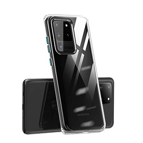 FANFO® Funda para Samsung Galaxy S20 Ultra 5G – Suave Flexible Silicona Teléfono Móvil – Essential Zero TPU Transparente Carcasa con cámara Protección (Transparente + Verde Oscuro)