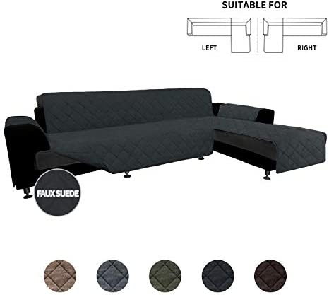 Best Easy-Going High Quility Sofa Slipcover L Shape Suede Sofa Cover Reversible Sectional Couch Cover wit
