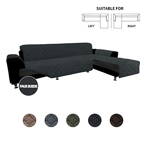 Easy-Going High Quility Sofa Slipcover L Shape Suede Sofa Cover Reversible Sectional Couch Cover with Foam Sticks Chaise Lounge Cover Furniture Protector for Pets Kids Dog(Large,Dark Gray/Dark Gray)