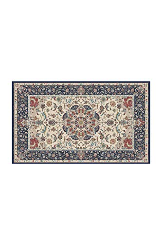 RUGGABLE Machine Washable Area Rug - Persian Collection - Traditional - 2-Piece Patented Rug System - Sima Royal Blue 3'x5'