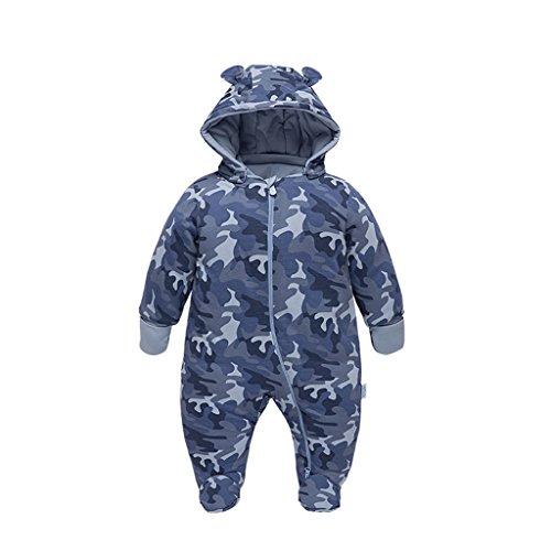 Vine Vine Baby Schneeanzug mit Kapuze Overalls Winter Strampler Reißverschluss Tarnung 1-3 Monate,Blau