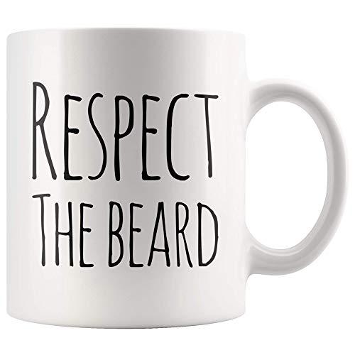 Herren Kaffeetasse Respektieren Sie den Bart Lustige Keramik Tasse - Mann Tasse Lustiger Bart - Dicker Bart - Weiß - Geschirrspüler und Mikrowelle sicher