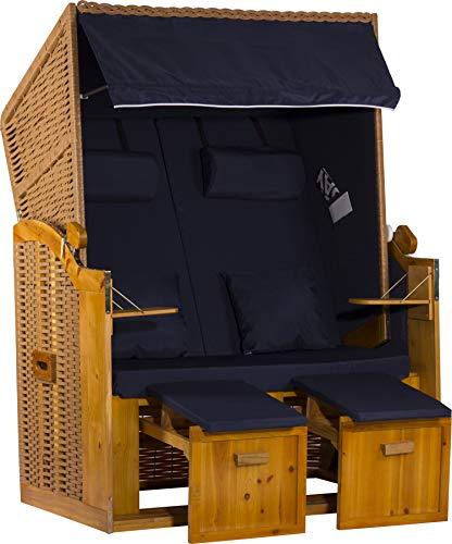 Webavita Strandkorb Ostsee Zweisitzer inkl. Hülle - Design Uni/Blau