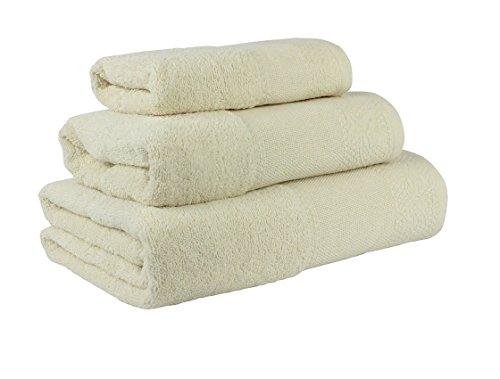 Confort Home M.T (Crema) Juego de Toallas de baño 3 Piezas REGALITOSTV (1 Toalla de baño, 1 Toallas de Manos y 1 Toalla Cara) 100% algodón, Toallas Ligeras y absorbentes. (Crema)