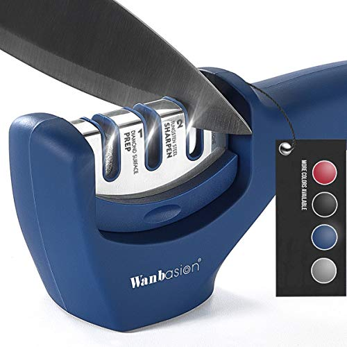 Wanbasion 3 Étapes Aiguiseur de Couteaux de Cuisine Professionnel Antidérapante, Aiguiseur de Couteaux de Cuisine Céramique Tungstène, Affuteur de Couteau Manuel Diamant Acier Bleu