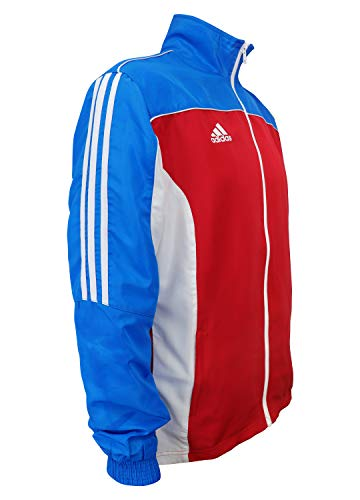 adidas Martial Arts 3-Stripes Light Tracksuit 100% Polyester Long Sleeve Jacket - Red White Blue - Large